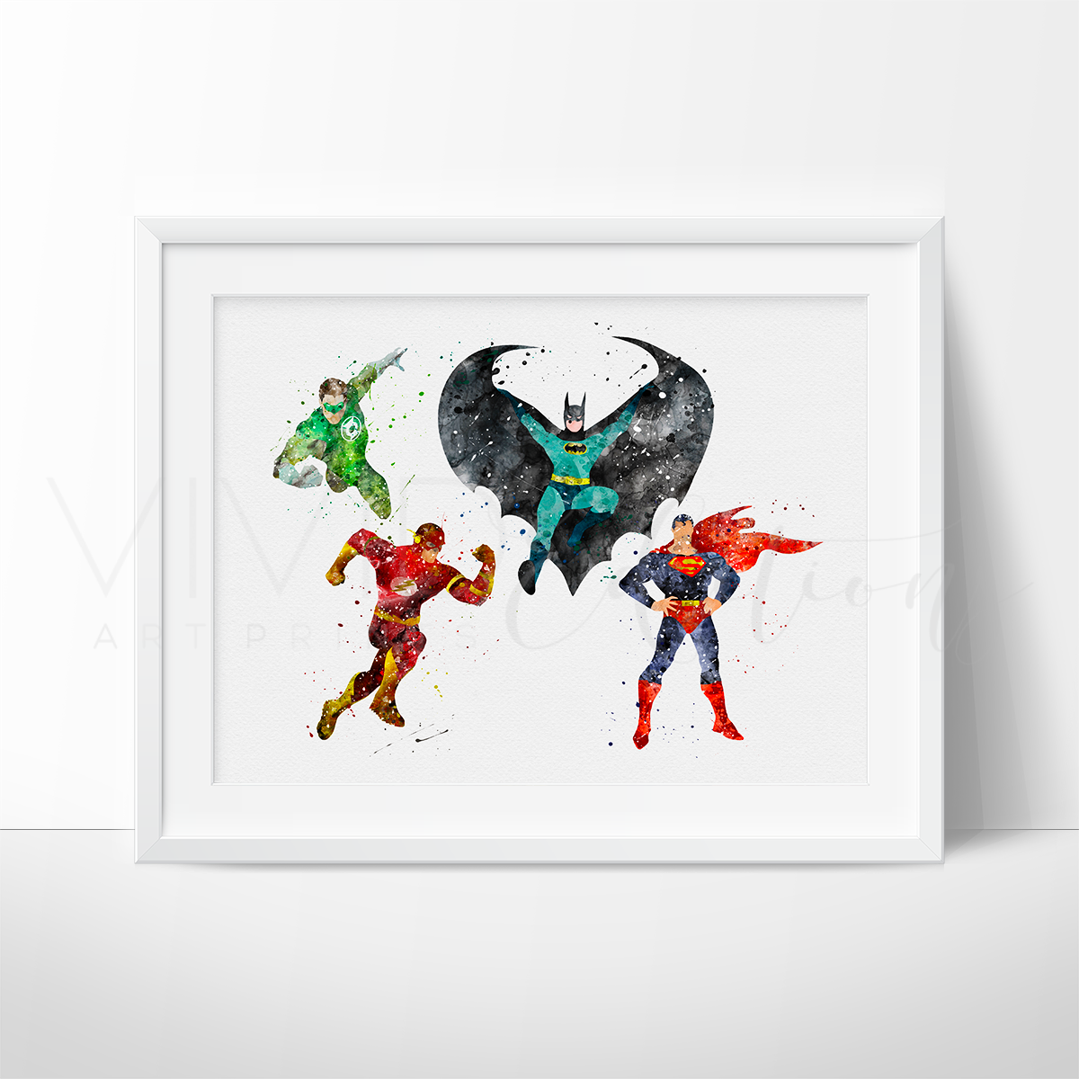 Justice League Superheroes Watercolor Art Print Art Print - VIVIDEDITIONS