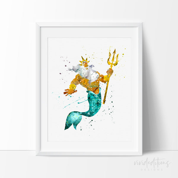 King Triton Little Mermaid Art Print Poster