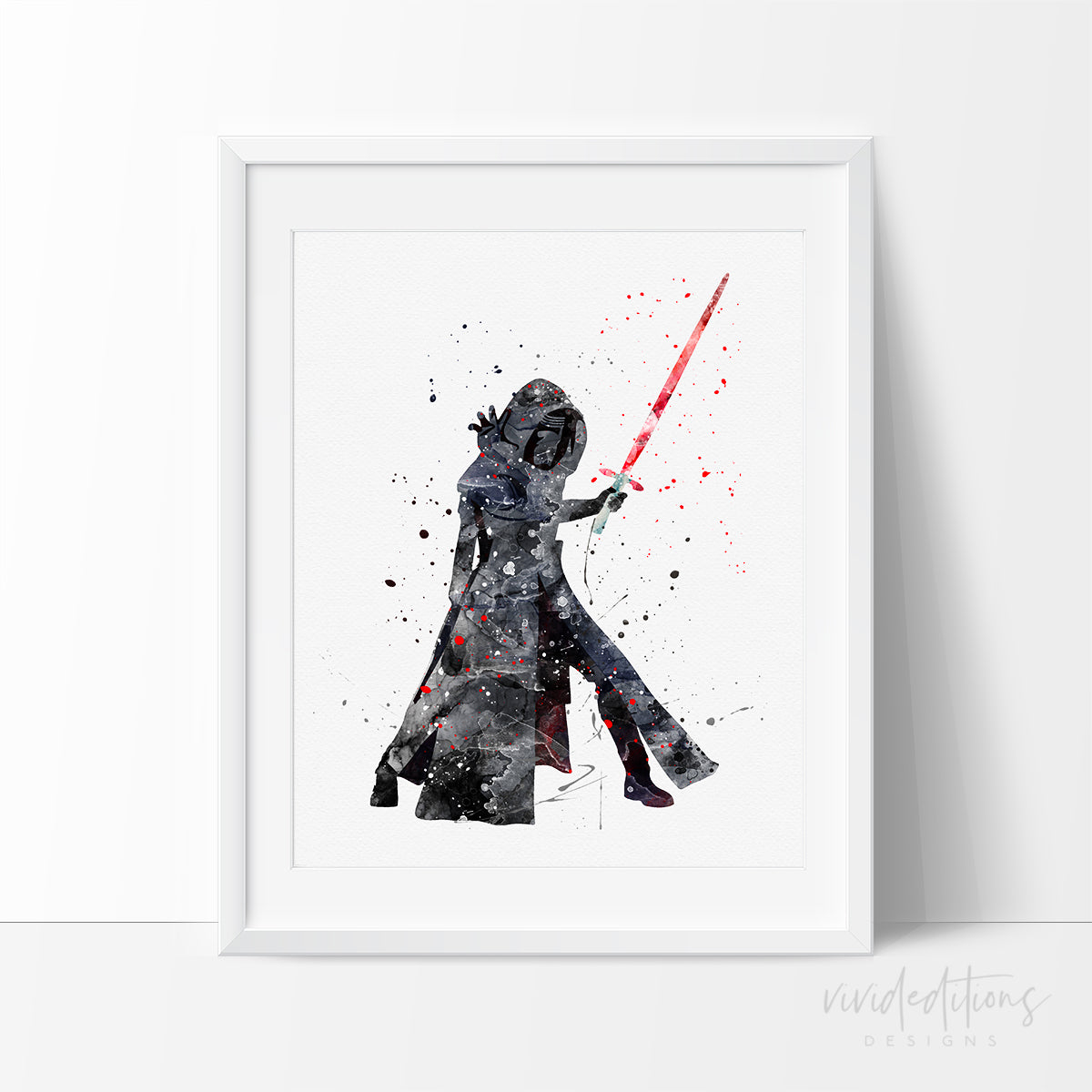 Kylo Ren Star Wars Watercolor Art Print Art Print - VIVIDEDITIONS