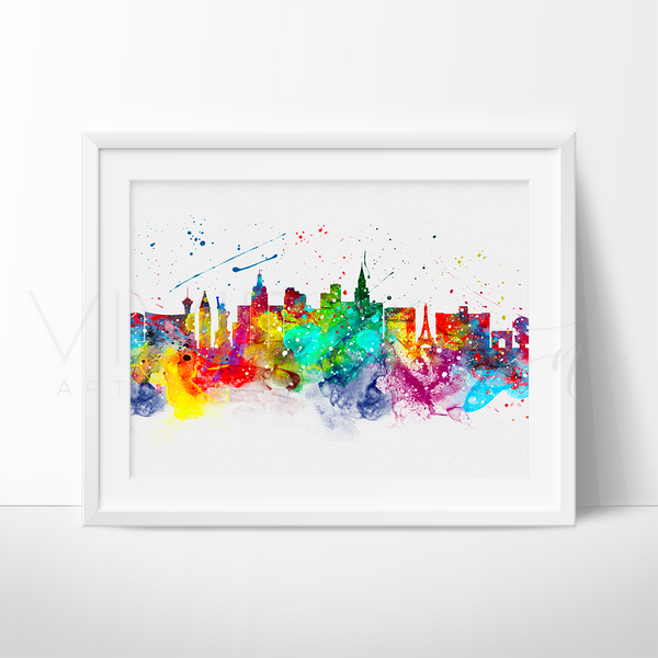 Las Vegas Skyline Watercolor Art Print Art Print - VIVIDEDITIONS