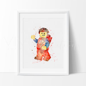 Emmet, Lego Man Watercolor Art Print Art Print - VIVIDEDITIONS