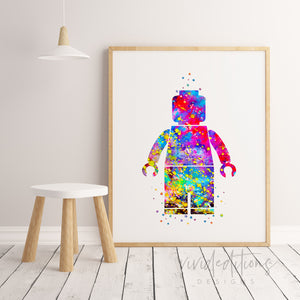 Lego Man 2 Watercolor Art Print Art Print - VIVIDEDITIONS