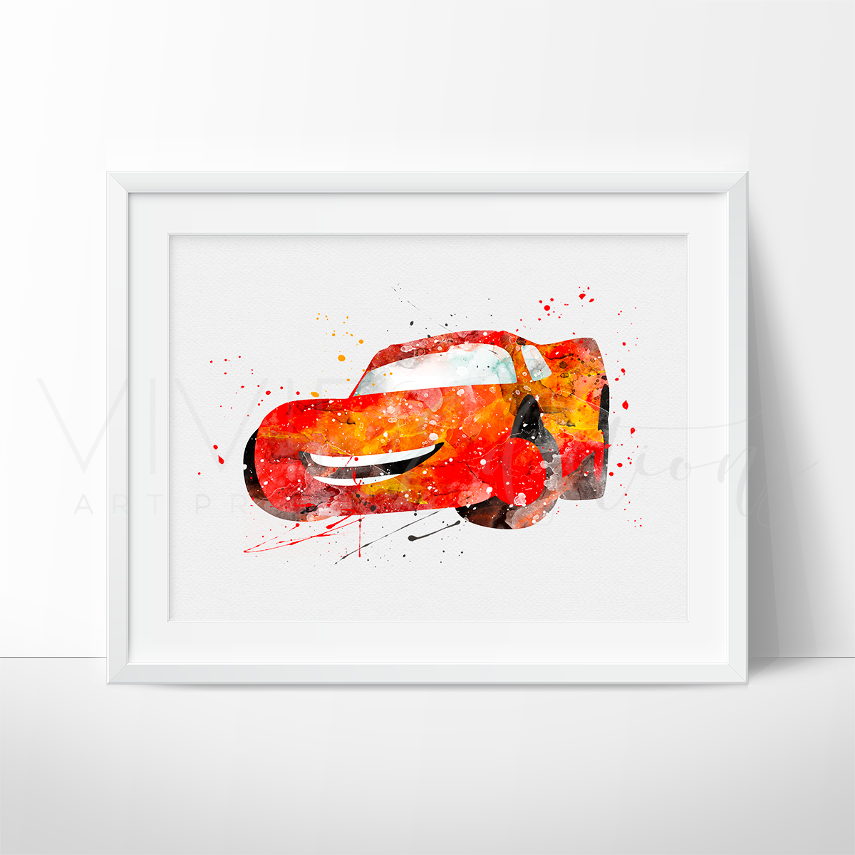 Lightning McQueen, Cars Watercolor Art Print Art Print - VIVIDEDITIONS