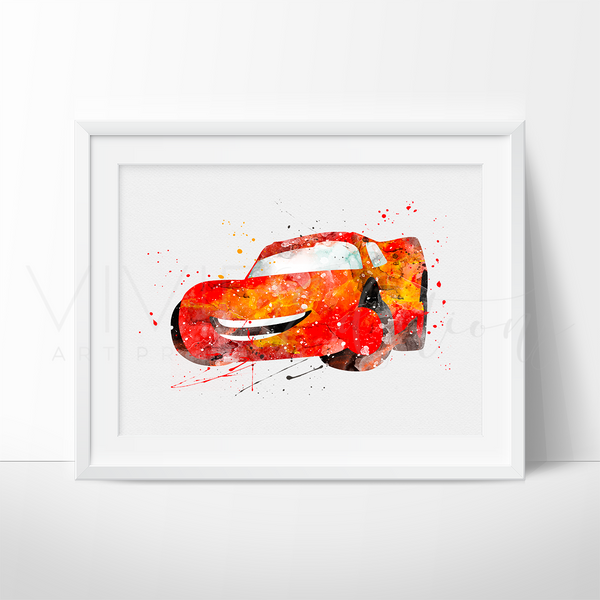 Lightning McQueen Print, Disney Cars Watercolor Art, Boys Nursery Wall Decor, Kids Bedroom Wall Art, Birthday Gift