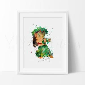 Lilo, Lilo & Stitch Watercolor Art Print Art Print - VIVIDEDITIONS
