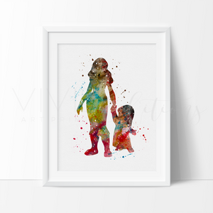 Lilo & Nani, Lilo & Stitch Watercolor Art Print Art Print - VIVIDEDITIONS