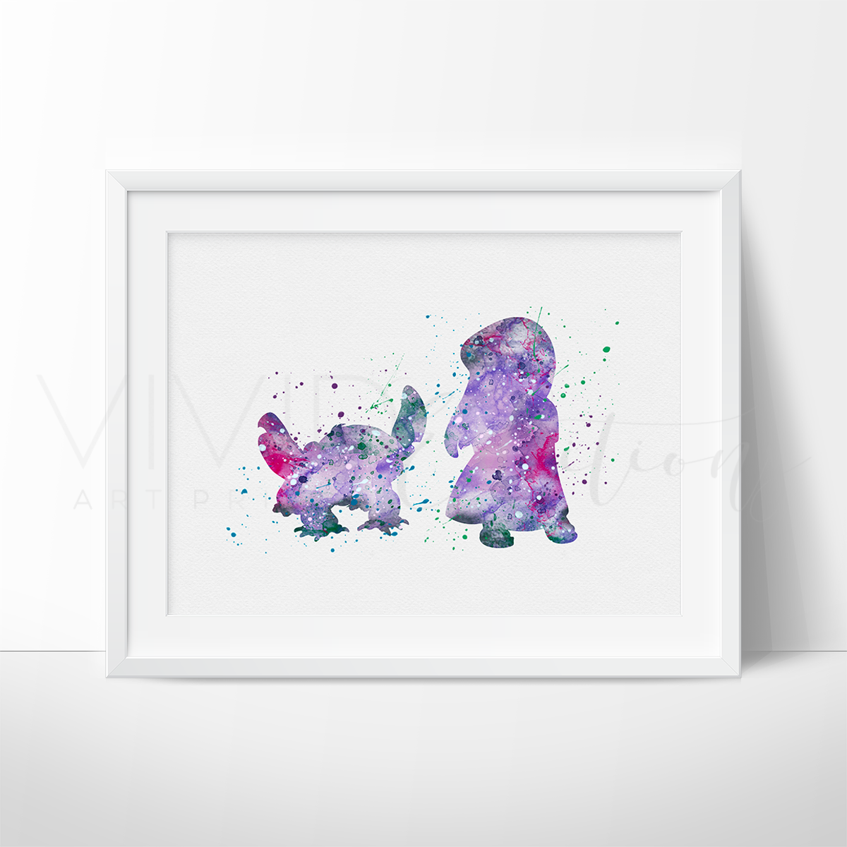 Pelekai, Lilo & Stitch Watercolor Art Print Art Print - VIVIDEDITIONS