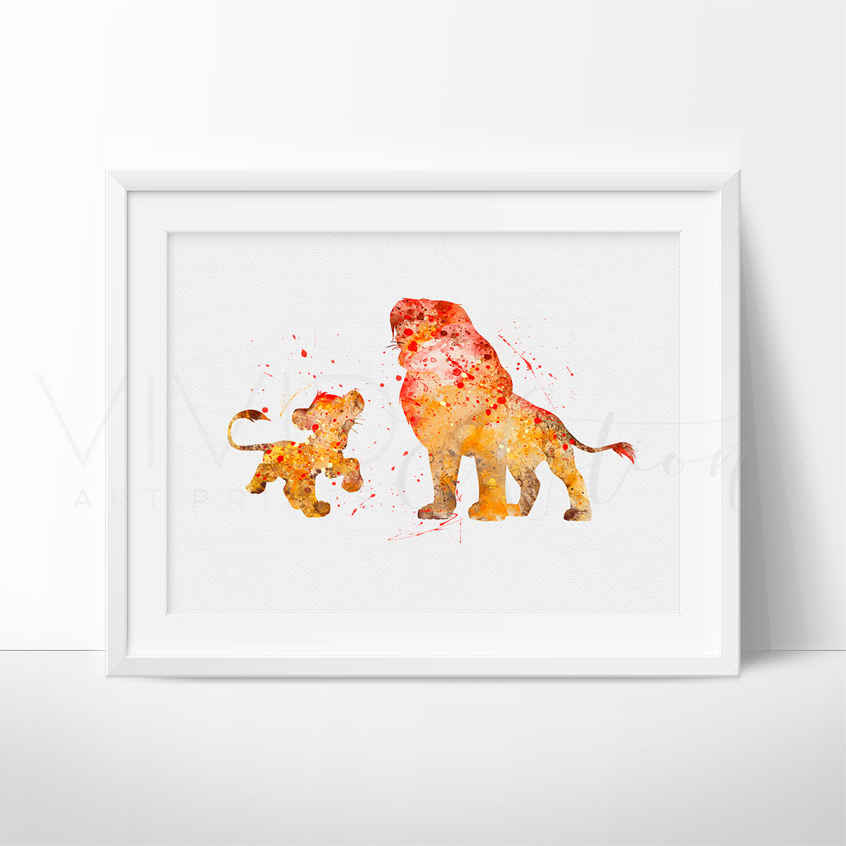 Lion King Simba + Mufasa Watercolor Art Print Art Print - VIVIDEDITIONS