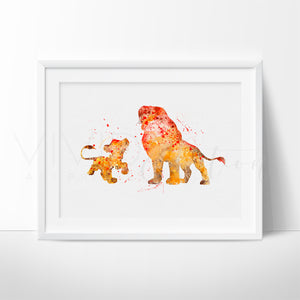 Simba and Mufasa Lion King Nursery Art Print Wall Decor
