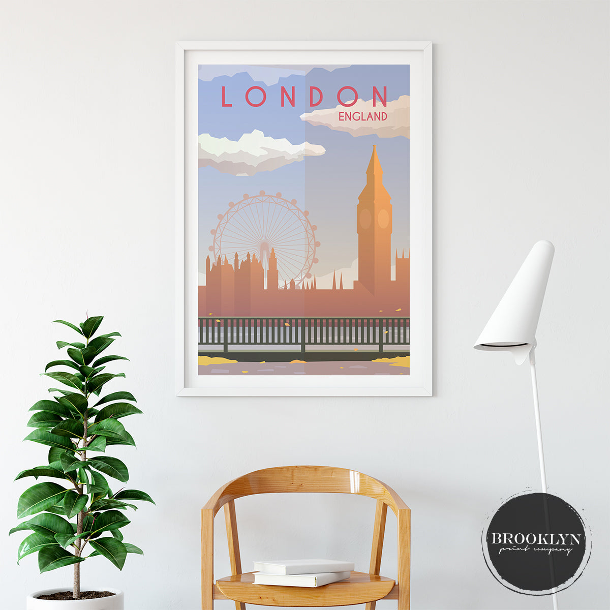 London Skyline City Landmarks Travel Poster Art Print - VIVIDEDITIONS