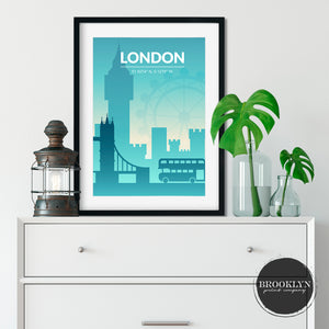 London Skyline City Map Travel Poster Art Print - VIVIDEDITIONS