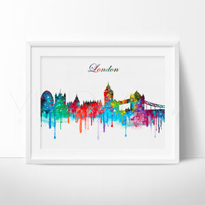 London Skyline 2 Watercolor Art Print Art Print - VIVIDEDITIONS