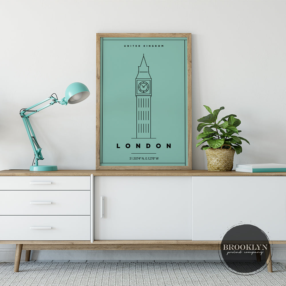 London Landmark City Travel Poster Art Print - VIVIDEDITIONS