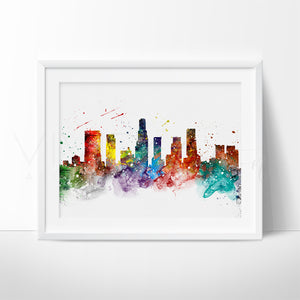 Los Angeles Skyline Cityscape Watercolor Art Print Wall Decor