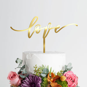Love Wedding Cake Topper - Engagement - Gold