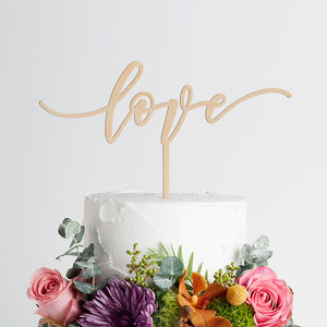 Love Wedding Cake Topper - Engagement - Wood