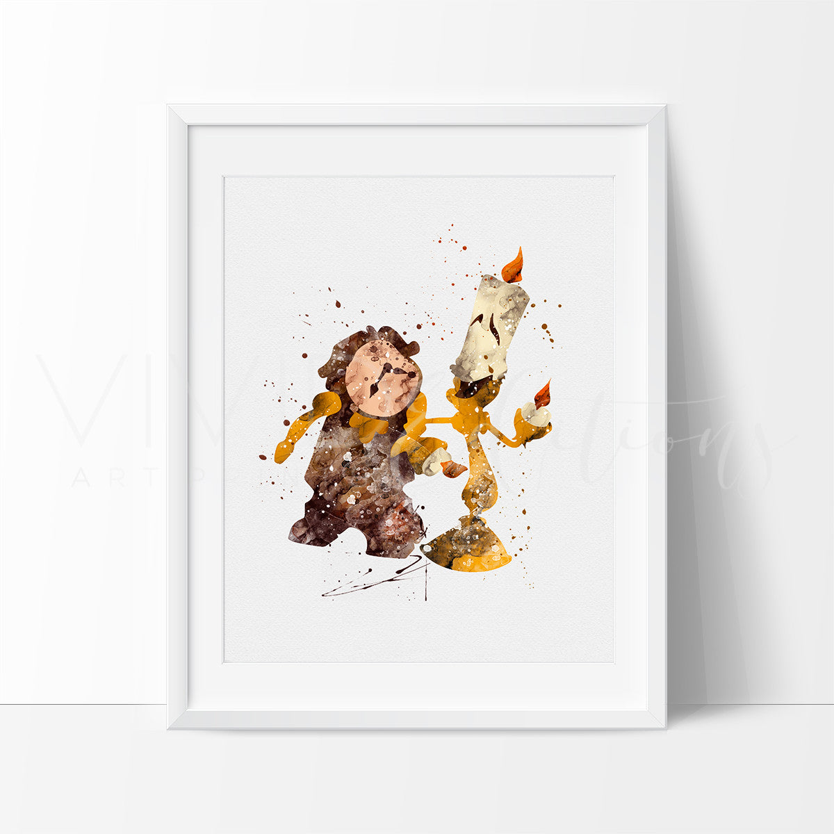 Lumiere & Cogsworth, Beauty and the Beast Watercolor Art Print Art Print - VIVIDEDITIONS
