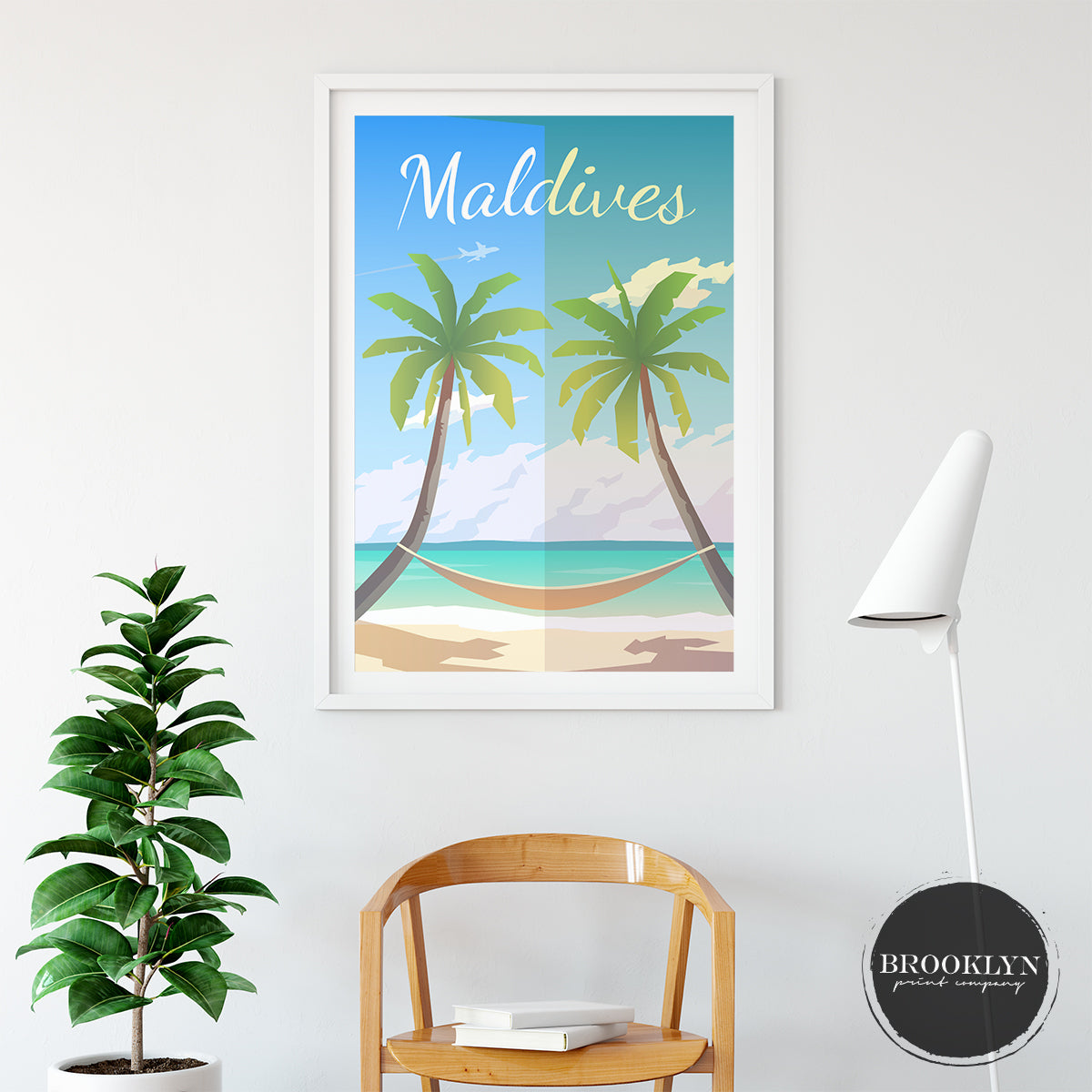 Maldives Landscape City Art Travel Poster Art Print - VIVIDEDITIONS