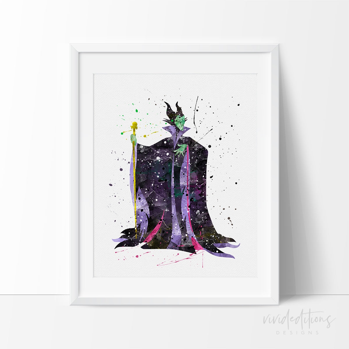 Maleficent 3 Watercolor Art Print Art Print - VIVIDEDITIONS