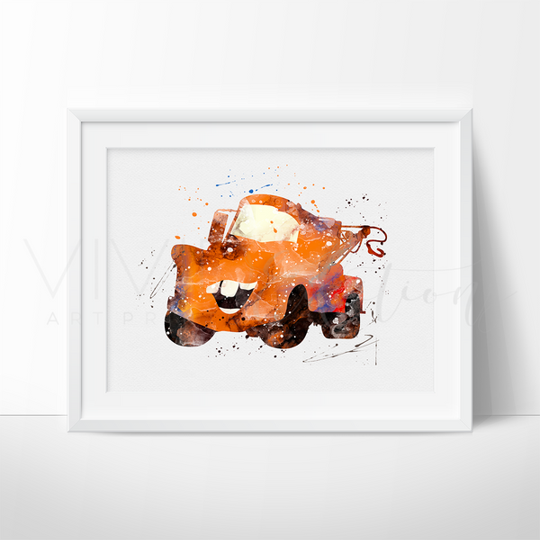 Mater, Cars Watercolor Art Print Art Print - VIVIDEDITIONS