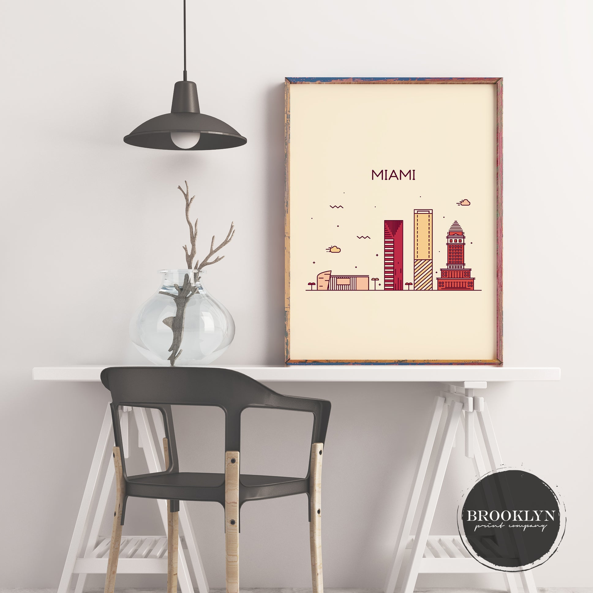 Miami Skyline Travel Poster Art Print - VIVIDEDITIONS