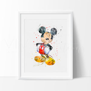 Mickey Mouse Print, Watercolor Art, Nursery, Kids Bedroom Decor, Baby Room, Playroom, Home Decor, Wall Art
