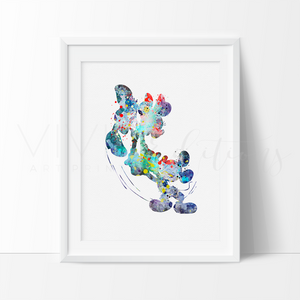 Mickey & Minnie Mouse 2 Watercolor Art Print Art Print - VIVIDEDITIONS