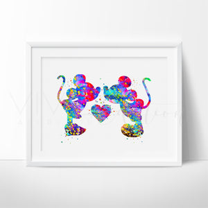 Mickey Mouse and Minnie Mouse Love Kissing Art Print Wall Decor