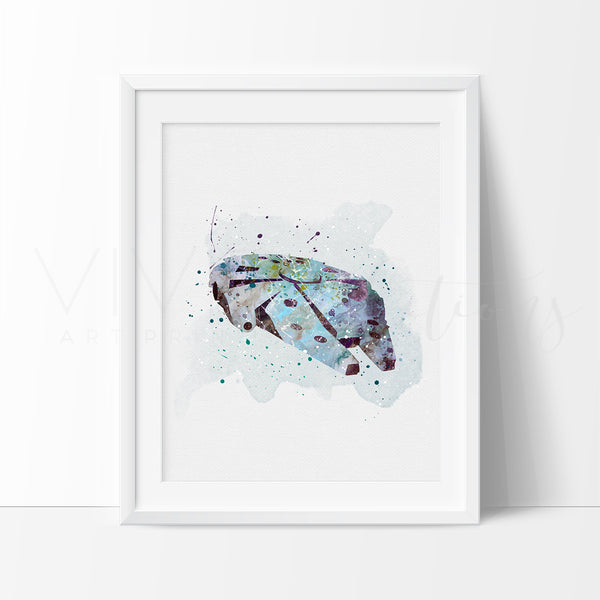 Millennium Falcon Watercolor Art Print Art Print - VIVIDEDITIONS