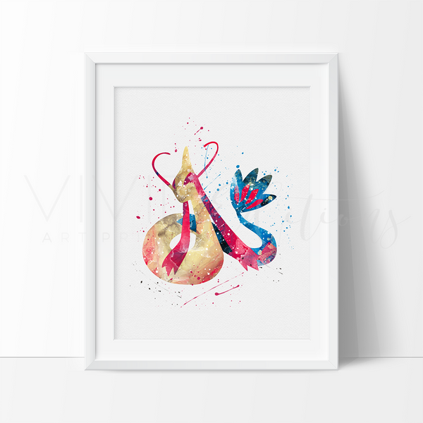 Milotic, Pokemon Watercolor Art Print Art Print - VIVIDEDITIONS