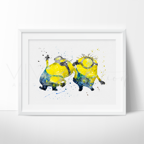 Minions Watercolor Art Print Art Print - VIVIDEDITIONS