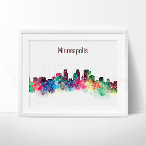 Minneapolis Skyline Cityscape Watercolor Art Print Wall Decor