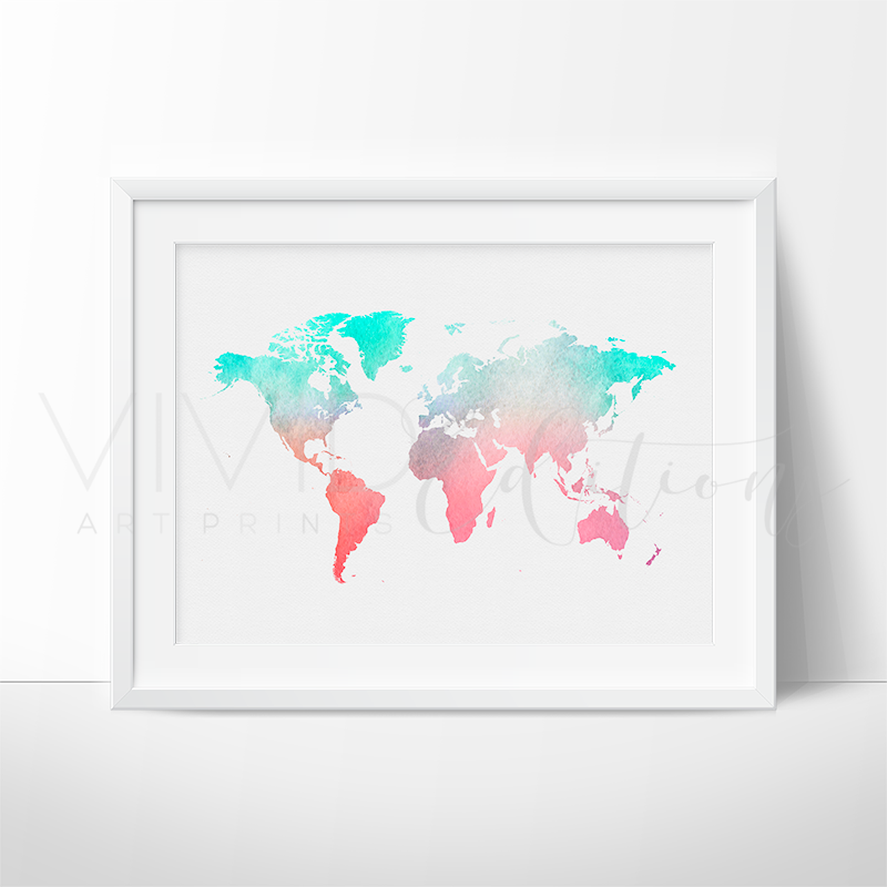 World map mint coral watercolor art print vivideditions world map mint coral watercolor art print gumiabroncs Image collections