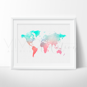 World Map, Mint + Coral Watercolor Art Print Art Print - VIVIDEDITIONS