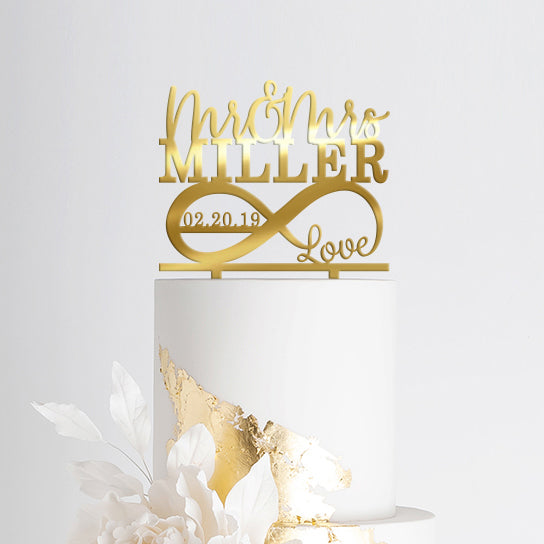 Wedding Cake Topper - Mr and Mrs Personalized Infinity Gold
