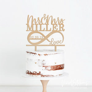 Wedding Cake Topper - Mr and Mrs Personalized Infinity Wood