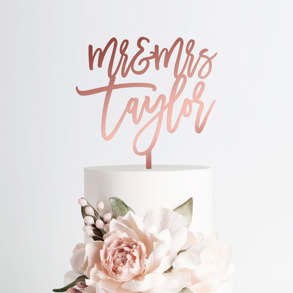 Wedding Cake Topper Mr and Mrs Personalized Last Name - Rose Gold