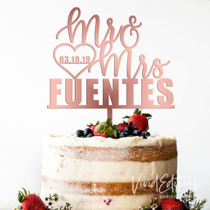 Mr & Mrs Personalized Wedding Cake Topper Art Print - VIVIDEDITIONS
