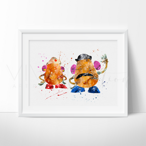 Mr. & Mrs. Potato Head Watercolor Art Print Art Print - VIVIDEDITIONS