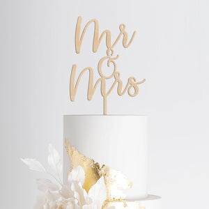 Mr and Mrs Wedding Cake Topper - wood