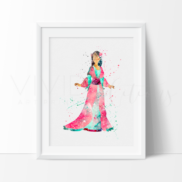 Mulan Watercolor Art Print Art Print - VIVIDEDITIONS