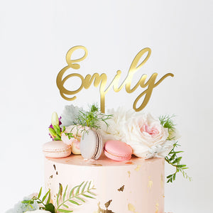 Personalized Name Cake Topper, Acrylic or Wood Art Print - VIVIDEDITIONS
