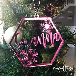 Personalized Name Snowflake Christmas Ornament, Pink Mirror, Rose Gold Mirror, Gold Mirror Acrylic