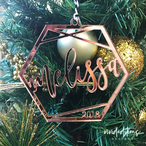 Personalized Name Ornament, Rose Gold Geometric Christmas Ornament