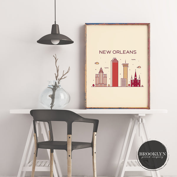 New Orleans Skyline Travel Poster Art Print - VIVIDEDITIONS