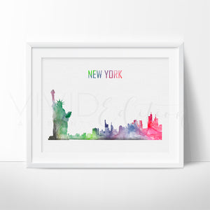 New York City Skyline Watercolor Art Print Art Print - VIVIDEDITIONS