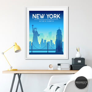 New York City Skyline Art Travel Poster Art Print - VIVIDEDITIONS