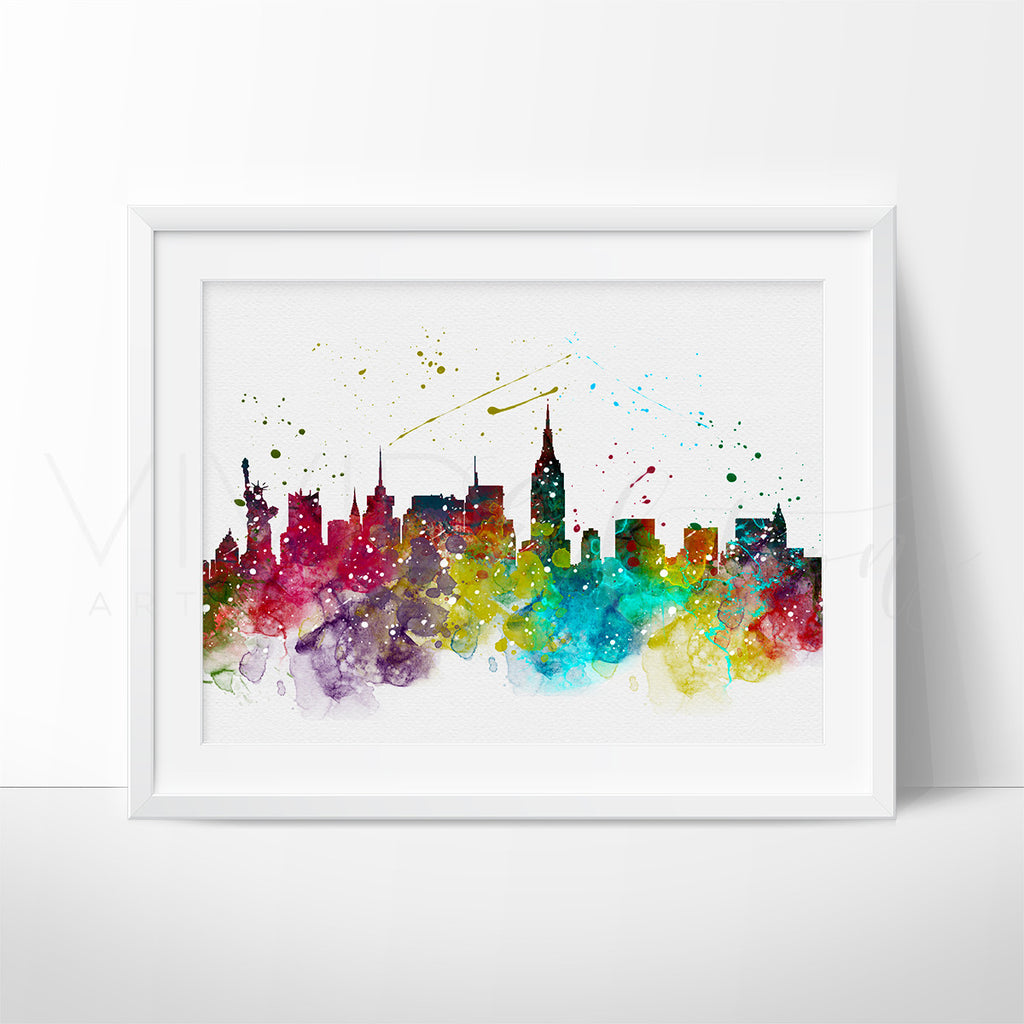 High Lights Of New York Skyline Canvas Wall Art: New York City Skyline Cityscape Watercolor Art Print Wall