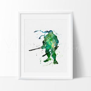 Teenage Mutant Ninja Turtles - Leonardo Watercolor Art Print Art Print - VIVIDEDITIONS