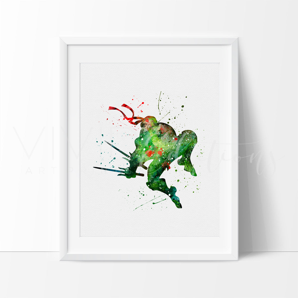 Teenage Mutant Ninja Turtles - Raphael Watercolor Art Print Art Print - VIVIDEDITIONS